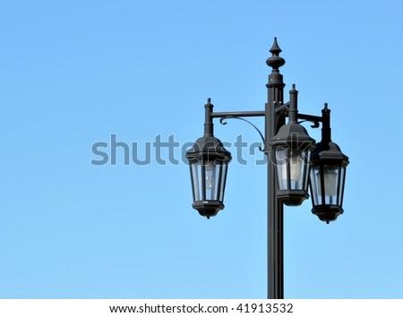Old Triple Lamp Street Light #41913532