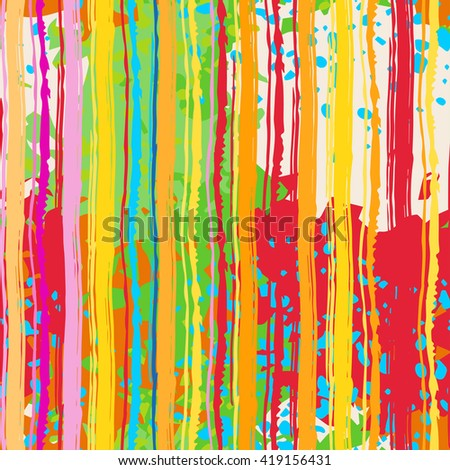 Abstract art grunge colorful seamless pattern, paint stains, watercolor, chaotic brush strokes. Background distressed texture, wallpaper, wrapping #419156431