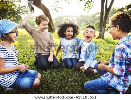 Kids Playing Cheerful Park Outdoors Concept #419185651