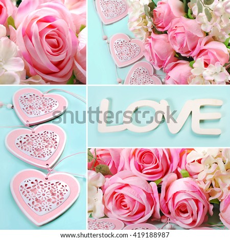 love collage with pink roses and hearts images in pastel colors