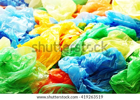 A lot of colorful plastic bags #419263519