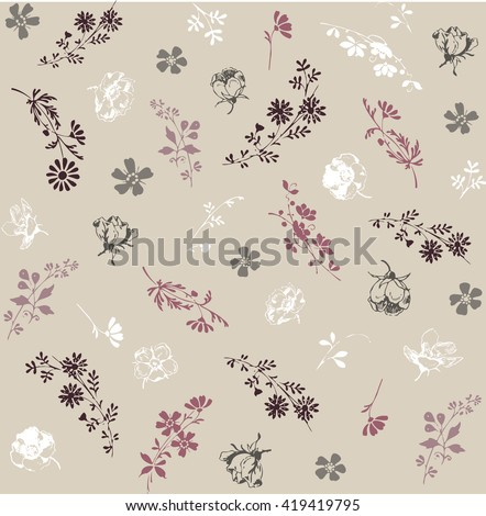 Seamless pattern of abstract flowers #419419795