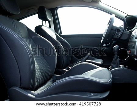 Sport seats with lateral support inside the car  #419507728
