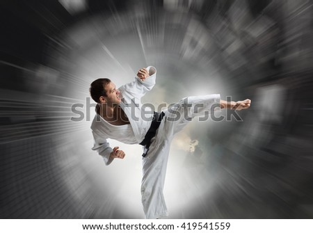 Karate man training #419541559