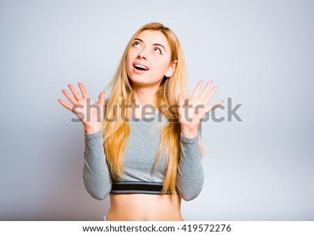 Cute blonde girl surprised #419572276