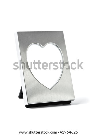 picture frame with heart-shaped window isolated on white