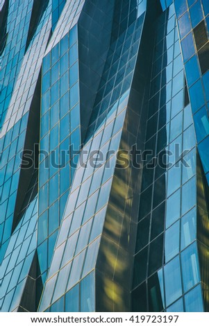 Abstract facade lines and glass reflection on modern building,abstract background #419723197