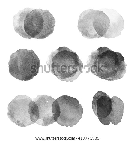 Set of hand drawn watercolor blots. Hand drawn watercolor blots good for your design, logo, label, print, card, banner. Elements for your design. #419771935