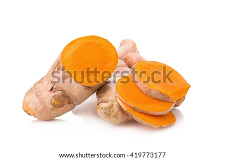 Turmeric Herb Contains Bioactive Compounds With Powerful Medicinal Properties isolated over white background. #419773177