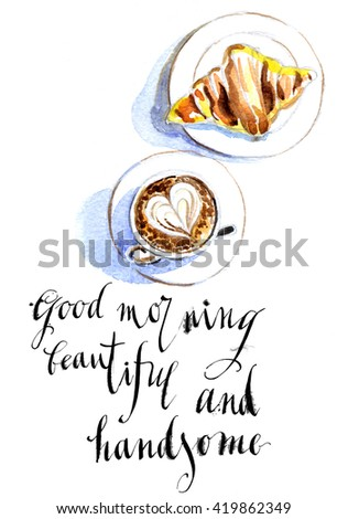 French breakfast of coffee and croissant, latte art #419862349