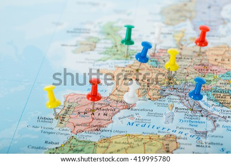 Europe Map pins travel for your planning trip. Royalty-Free Stock Photo #419995780