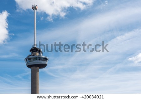 Rotterdam, Netherlands - March 30, 2016 : Euromast tower closeup against blue sky #420034021