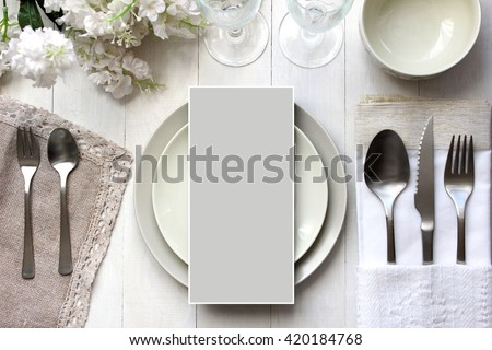 Table place, reserve card, menu mockup.  Vintage fashion photography. Wedding dinner design. Beautiful dishware, traditional style. Royalty-Free Stock Photo #420184768