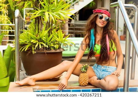 Colorful portrait of young attractive woman wearing sunglasses. Summer beauty and nail art concept.stylish summer hair women,wavy long keratin hair with botox and eco keratin cosmetics,hair treatment  #420267211