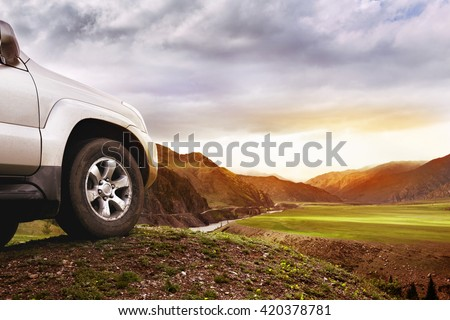 Offroad car concept with mountains #420378781