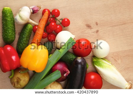 Vegetables . Fresh Bio Vegetable in a Basket. Over Nature Background #420437890