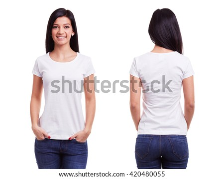 White t shirt on a young woman template on white background #420480055