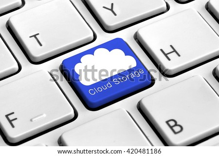 Computer keyboard with blue cloud storage button