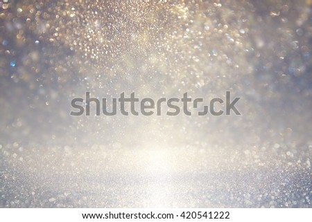 glitter vintage lights background. blue, silver. defocused  Royalty-Free Stock Photo #420541222