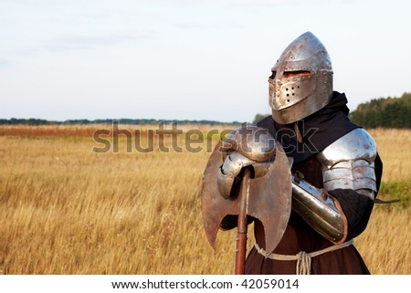 Medieval knight in the field with an axe #42059014