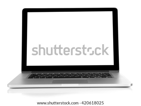 Laptop with black screen isolated on white #420618025
