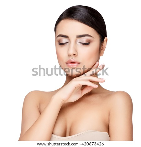 Young brunette woman with beautiful clean skin #420673426