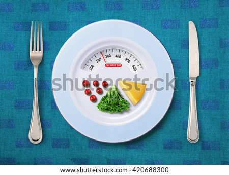 view of calorie tot in food that on white plate #420688300