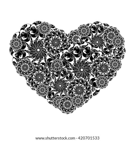 Picture of the heart of stylized flowers in black and white colors. Isolated on white background. Vector illustration. #420701533