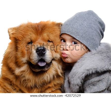 The girl with dog of chow-chow, on white background