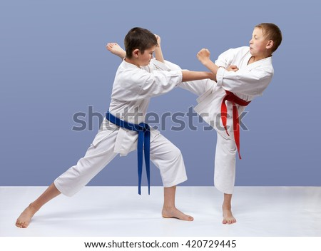 With red and blue belt boys are training strikes and blocks #420729445