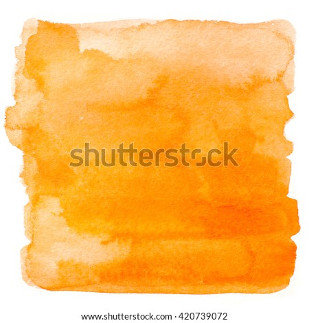 Abstract watercolor art hand paint isolated on white background. Watercolor stains. Square orange watercolor banner #420739072