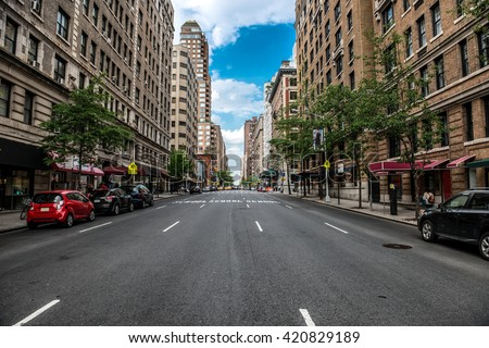 New York City Manhattan empty street at Midtown at sunny day #420829189