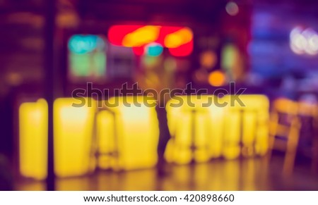 image of blur restaurant in night time for background usage . (vintage tone) #420898660