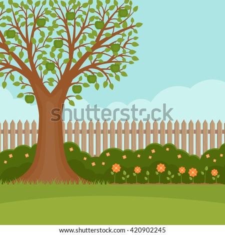Gardening. Banner with summer garden landscape. Apple tree, flower bushes, wood fence and lawn. Flat style, vector illustration.