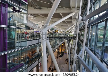LONDON, UK -15 MAY 2016- London Heathrow Airport (LHR) is the busiest airport in England and the main hub for British Airways (BA). #420905824