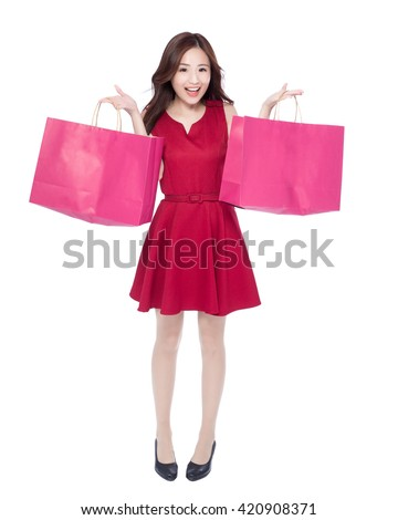 happy shopping young woman show bags - isolated on white background, full body, asian beauty #420908371
