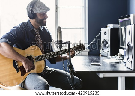 Home recording musician series Royalty-Free Stock Photo #420915235