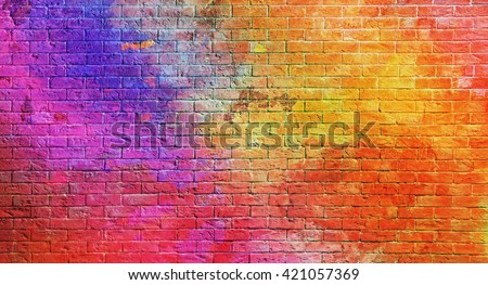 Colorful  brick wall background #421057369