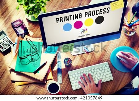 Printing Process Offset Ink Color Industry Media Concept Royalty-Free Stock Photo #421057849