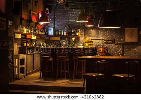 This is interior of modern european pub. Royalty-Free Stock Photo #421062862