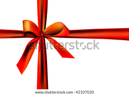 red gift ribbon with knot #42107020