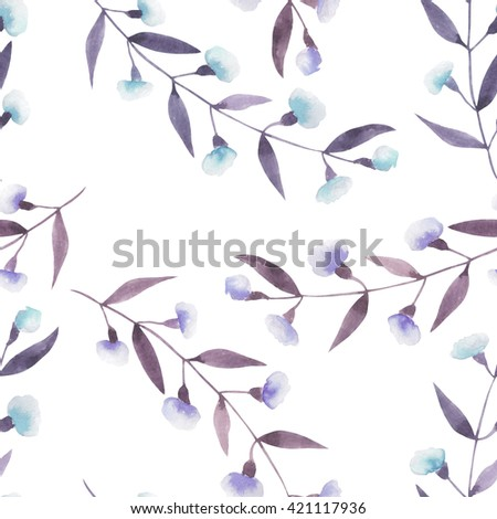 Seamless floral pattern with the abstract watercolor purple and blue branches with flowers, hand drawn on a white background