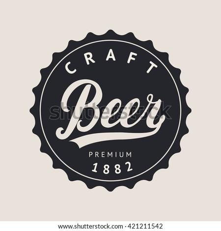 Craft beer logo, label. Beer hand lettering. Vector illustration. #421211542