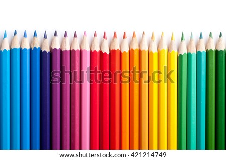 Color pencils isolated on white background.Close up. #421214749