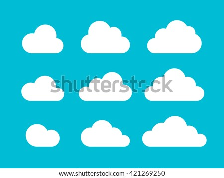 Set of Cloud Icons in trendy flat style isolated on blue background. Cloud symbol for your web site design, logo, app, UI. Vector illustration, EPS10. Royalty-Free Stock Photo #421269250