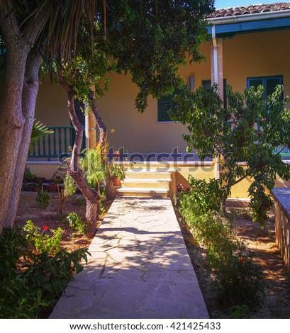 Courtyard Hala Sultan Tekke. Larnaca. Cyprus.  #421425433