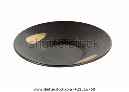 Black Plate Japanese Style Isolated on white background with paths #421516768