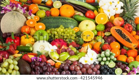 Group of fresh fruits and vegetables for healthy #421545946