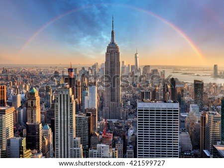 New York City skyline with urban skyscrapers and rainbow. #421599727