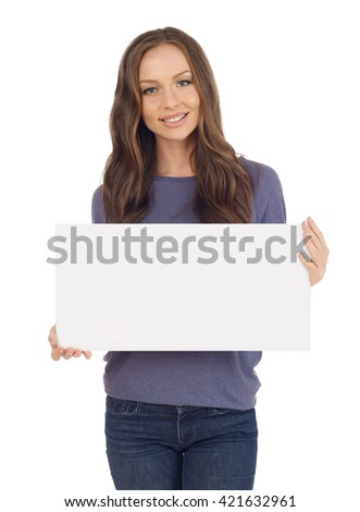 Cheerful young woman with banner #421632961